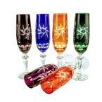 Colored crystal champagne glasses 170ml Grinder Olive 6 pcs