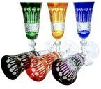 Colour crystal glasses for champagne 150 m lFrench