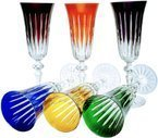Colour crystal glasses for champagne 150ml