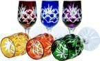 Colour crystal glasses for vodka 25ml