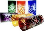 Colour crystal glasses for water and drinks 320ml Pineapple