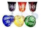 Colour crystal wine glasses 220ml Olive grinder