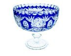 Crsytal blue bowl on the white leg