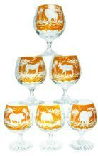 Crystal glasses for cognac with safari motif 250ml