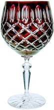 Ruby crystal wine glasses 280 ml Olive lattice