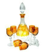 Yellow crystal carafe for wine with grape 500ml